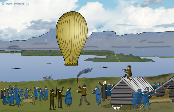 Launching of a hot air balloon in Karesuando (Enentekis) in 1799.